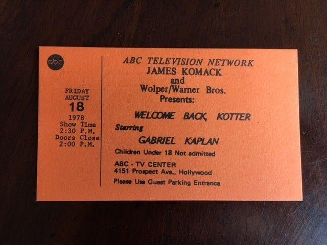 1978 Welcome Back Kotter, Un-Used ABC Studio Ticket