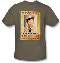 Andy Griffith Show Shirt Barney Fife I Am The Law Safari Green T-Shirt