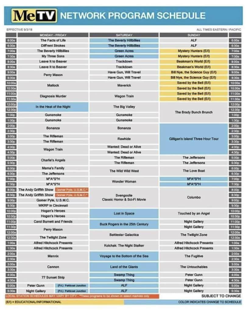 Metv schedule today