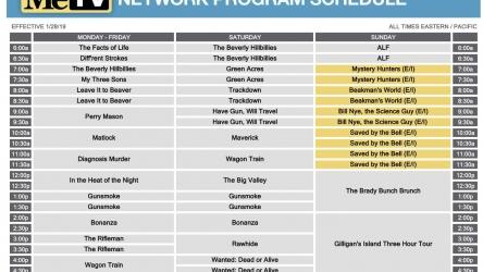 MeTV Winter 2019 Schedule Preview