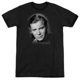 Star Trek Captain Kirk Portrait Adult Heather Ringer Black